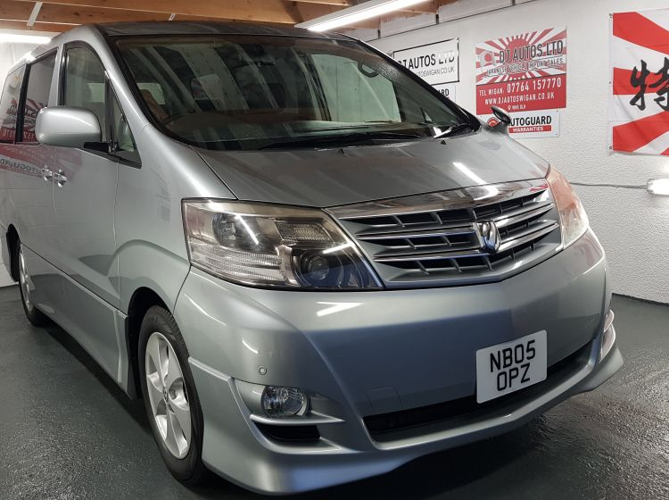 Toyota Alphard 2.4 silver petrol automatic 8 seater mpv sunroof japanese import excellent condition corrosion free 2005 in stock quote 76
