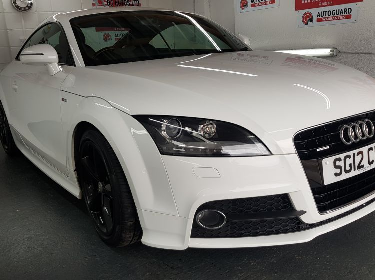 now sold thanks!!!!!Audi TT Coupe 2.0TDI quattro S Line white black alloys recent timing belt 2012 excellent condition px and finance 6 months warranty