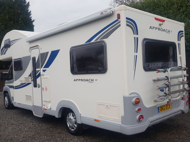 now sold thanks!!!!!!!bailey approach 760 se motorhome 6 berth 6 seatbelts 1 p owner 2012 excellent condition px and finance 6 months warranty