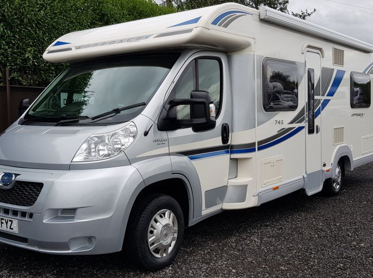 now sold thanks!!!!!bailey approach 745 se motorhome 4 berth french bed 4 seatbelts 2012 extras-excellent condition px towbar/bike rack/awning/camera