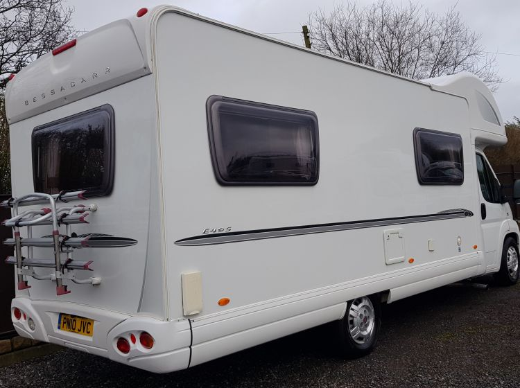 now sold thanks!!!!!!!BESSACARR E495 mototohome 6 BERTH 6 SEATBELT u shape lounge  solar panel recent 4 new tyres new timing belt fitted px and finance 2010