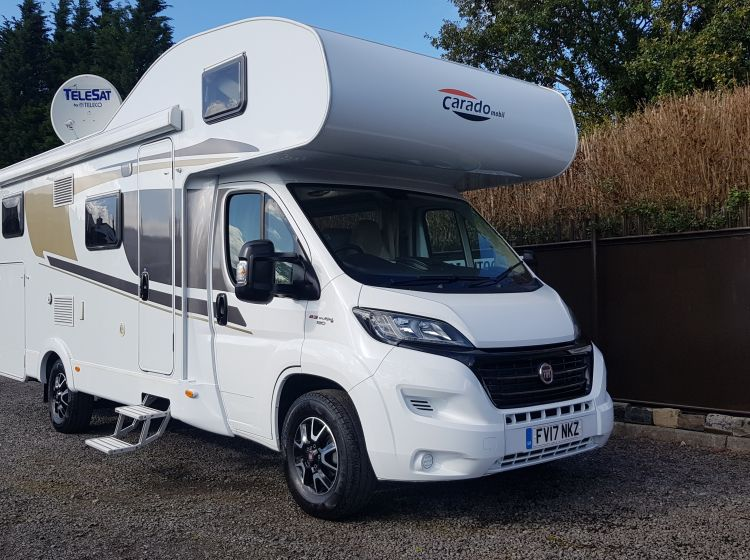 now sold thanks!!!!!!carado mobil a464 motorhome 6 berth 6 belts 3500kg fixed bed/garage solar panel sat nav sat dish only 10800 miles 2017