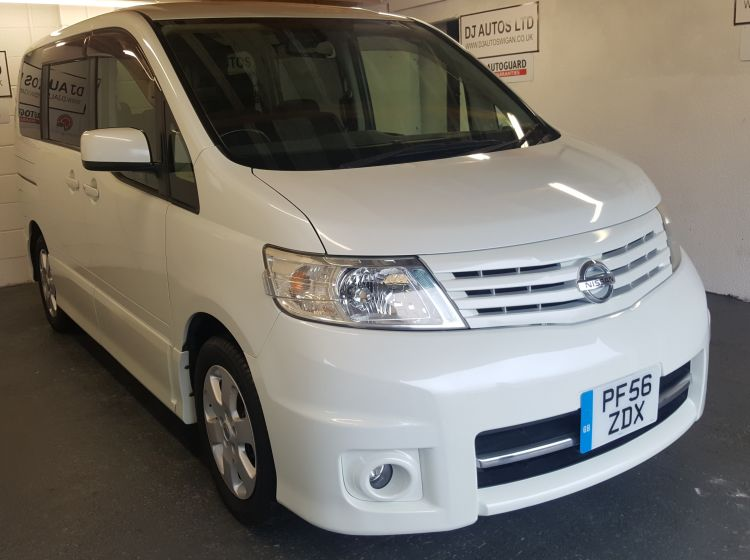 now sold thanks!!!!!!!!Nissan Serena 2.0 automatic petrol 8 seater highway star white mpv top class-58000 miles twin slide door tints- rear camera px welcome